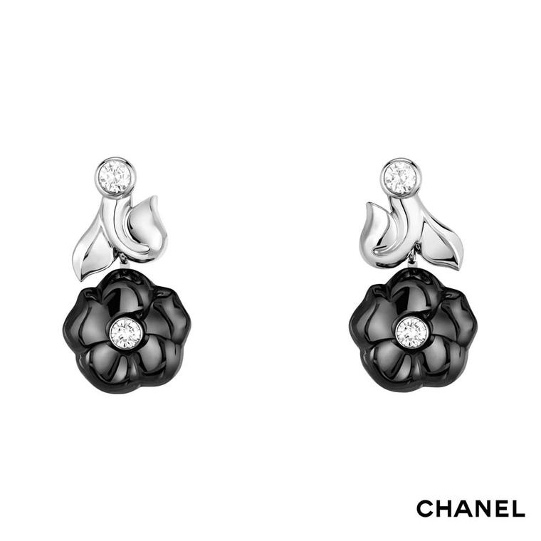 Chanel Camélia Galbé white gold and black ceramic earrings set with four brilliant-cut diamonds
