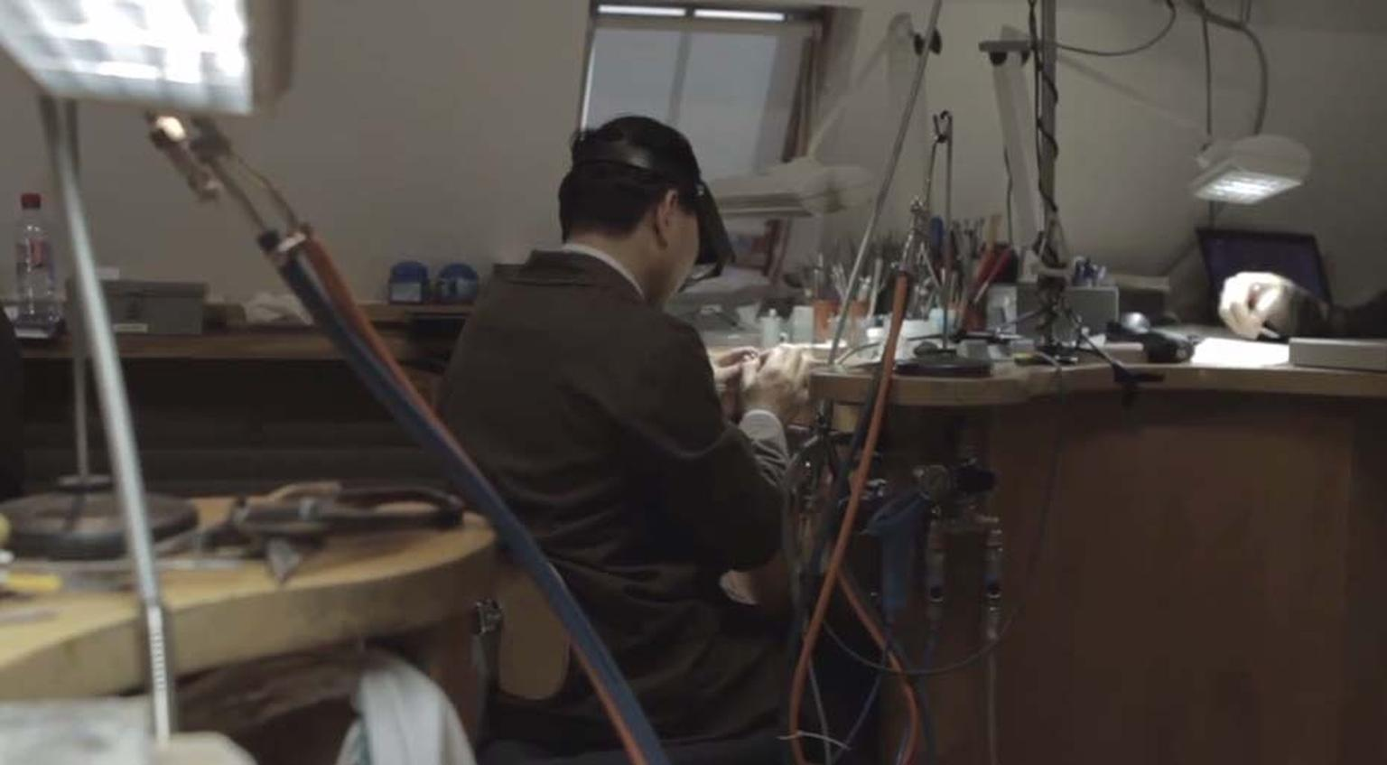 A jeweller working within Louis Vuitton's Paris atelier.
