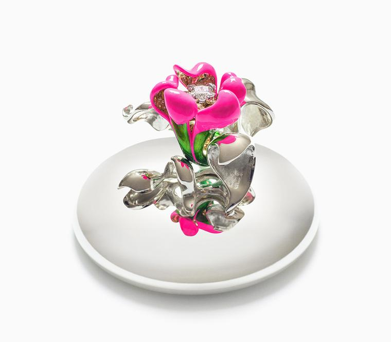 Victoire de Castellane 2013 Crystal Shocking Pink Baby in yellow gold, diamonds and coloured lacquer