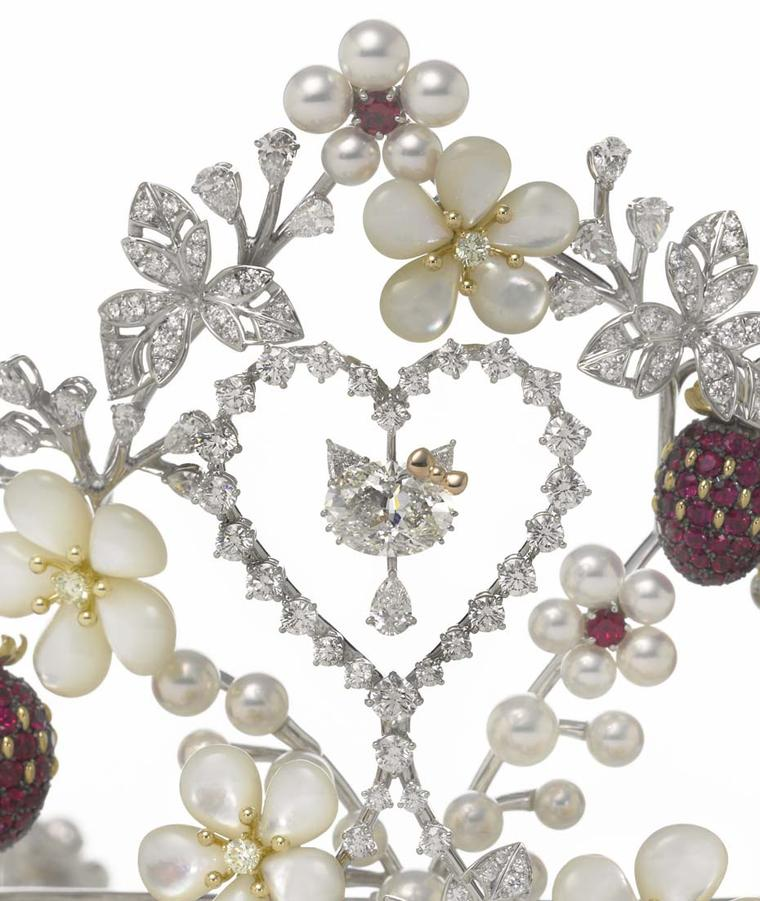 A close-up of the Mikimoto x Hello Kitty tiara
