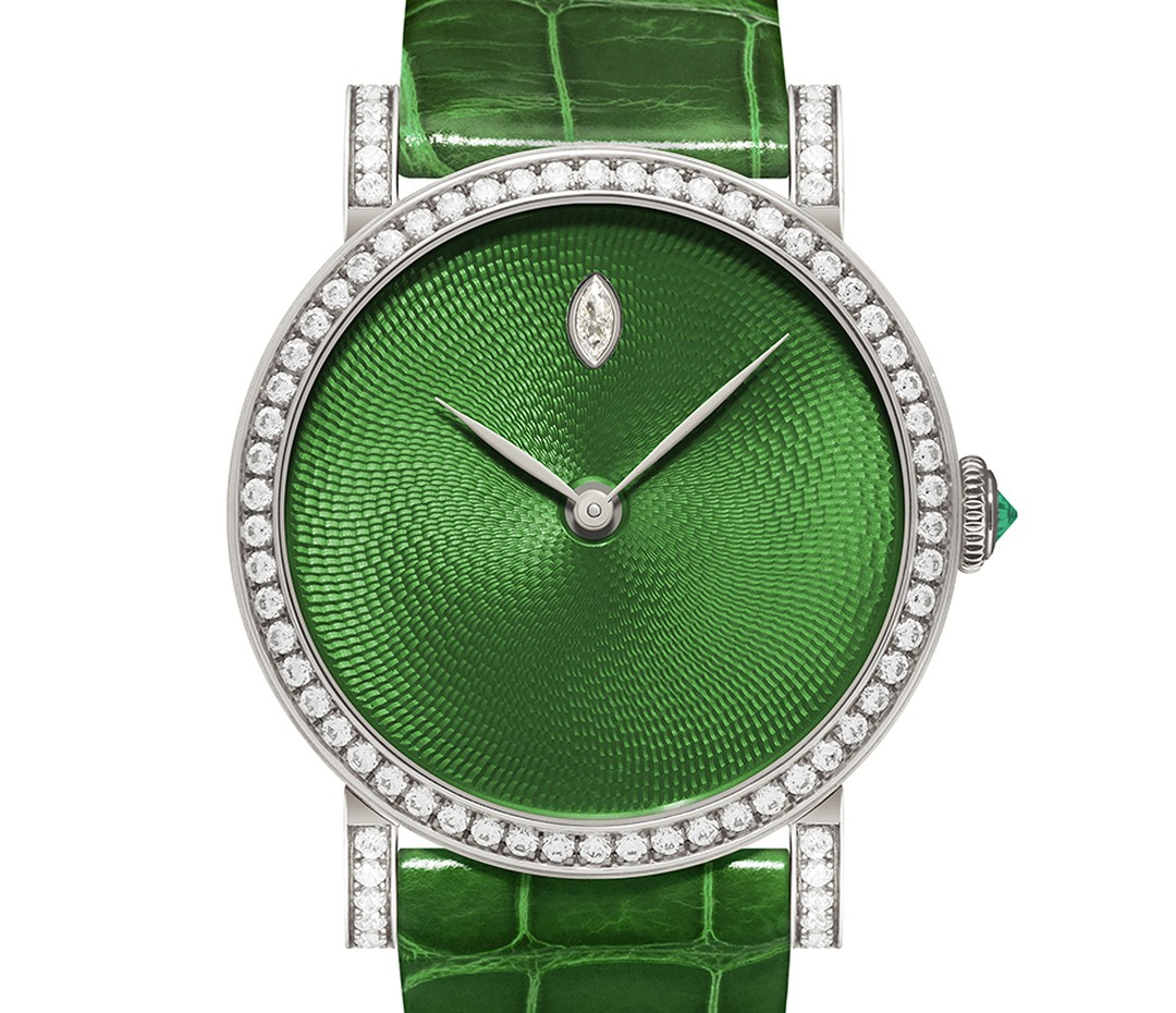DeLaneau Rondo Translucent Green watch with a guilloché enamel dial