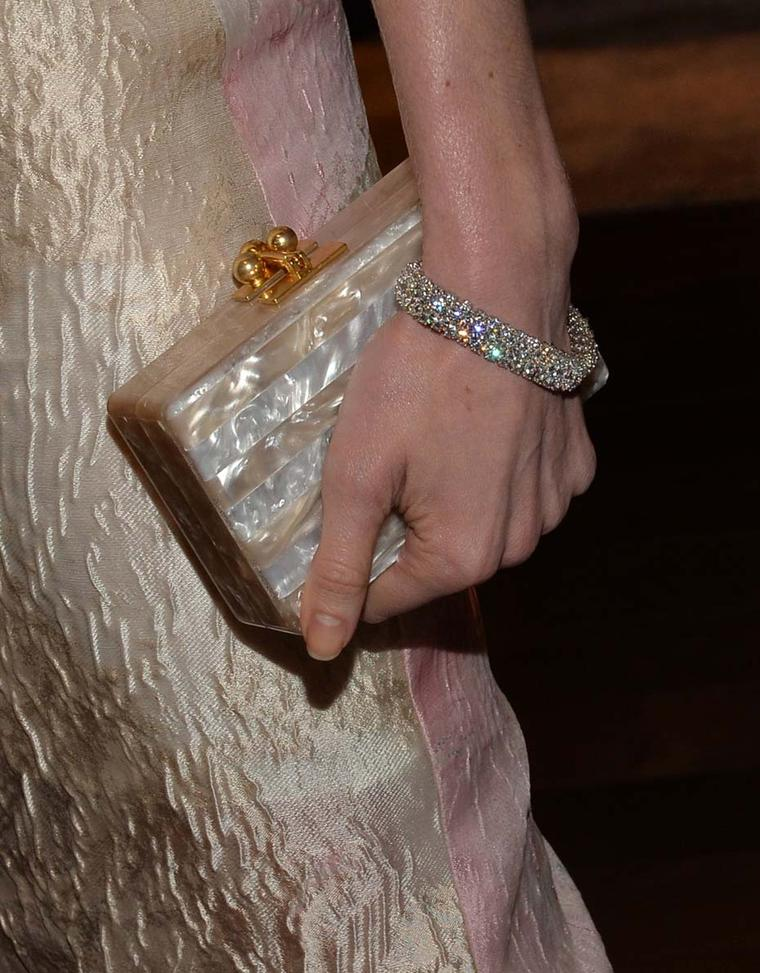 Classic Van Cleef & Arpels diamonds were the perfect accompaniment to Kate Bosworth's sheer Monique Lhuillier dress