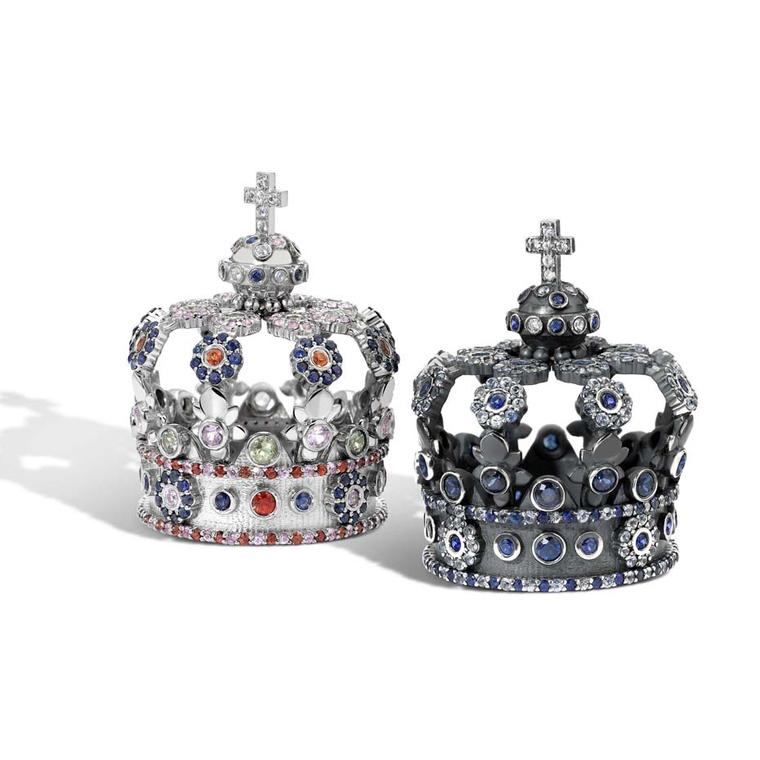Created by Nicola Pulvertaft, designer and owner of new jewellery brand Powder Hill, two sapphire-set crowns are perfect scaled-down replicas of the crown worn by the king of Bavaria