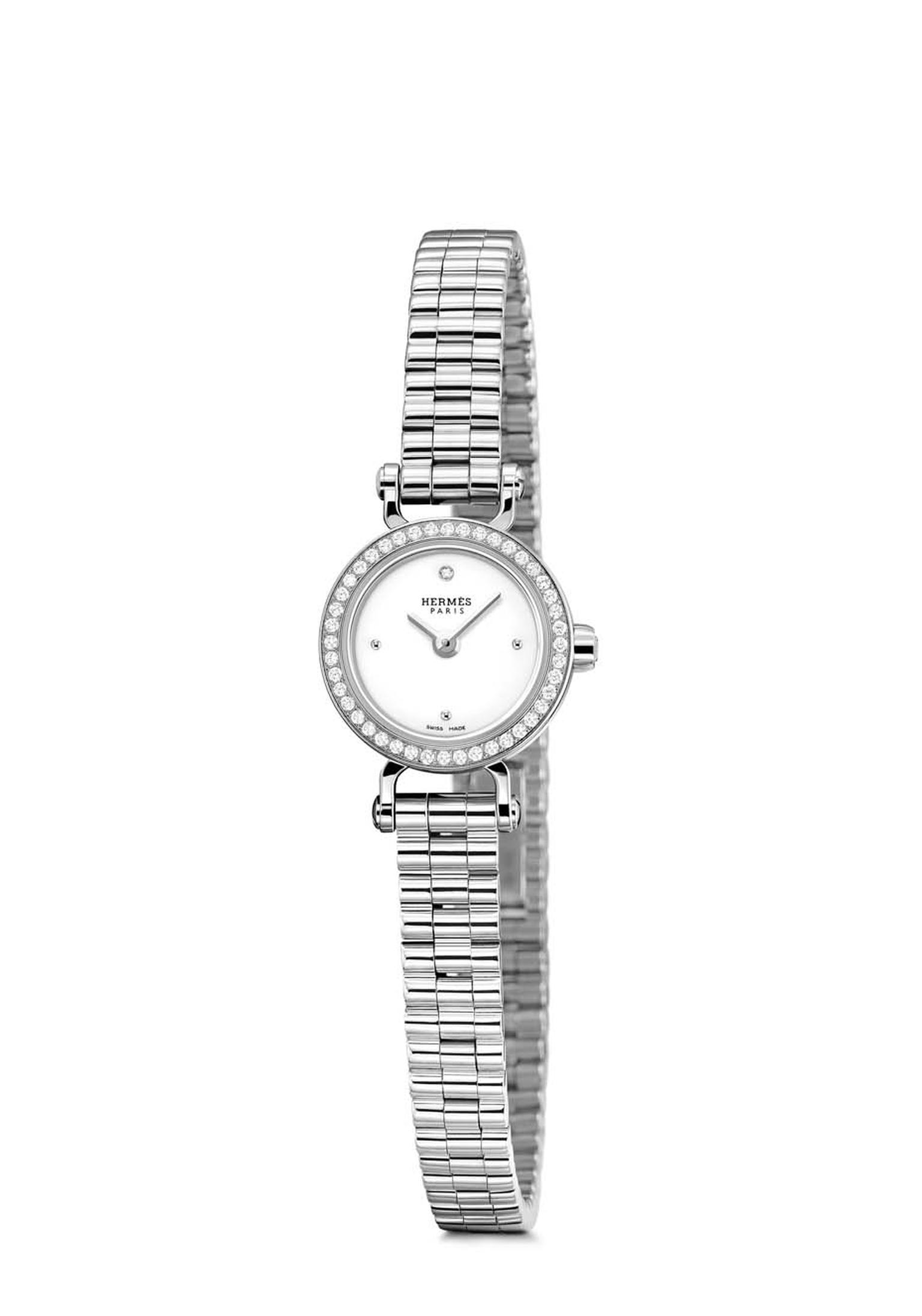 Hermès Faubourg watch with a diamond-set white gold case and white gold bracelet