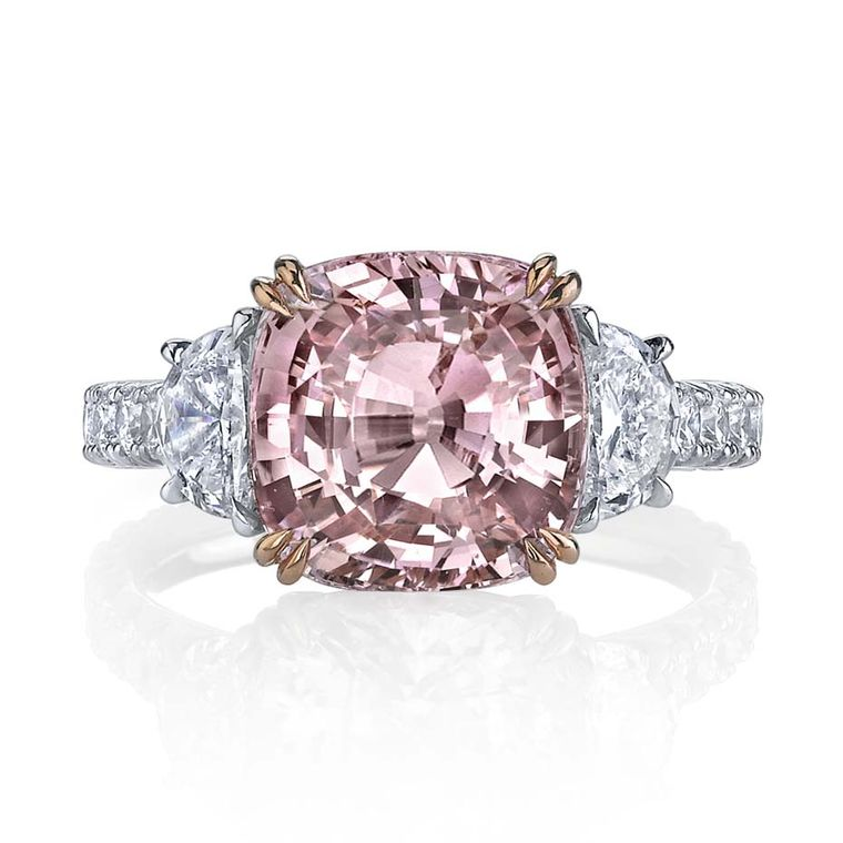 Omi Privé Padparadscha sapphire and diamond ring