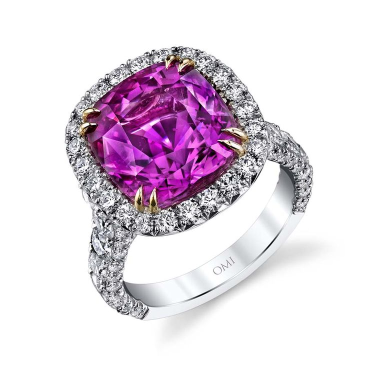 Omi Privé one-of-a-kind pink sapphire and diamond ring