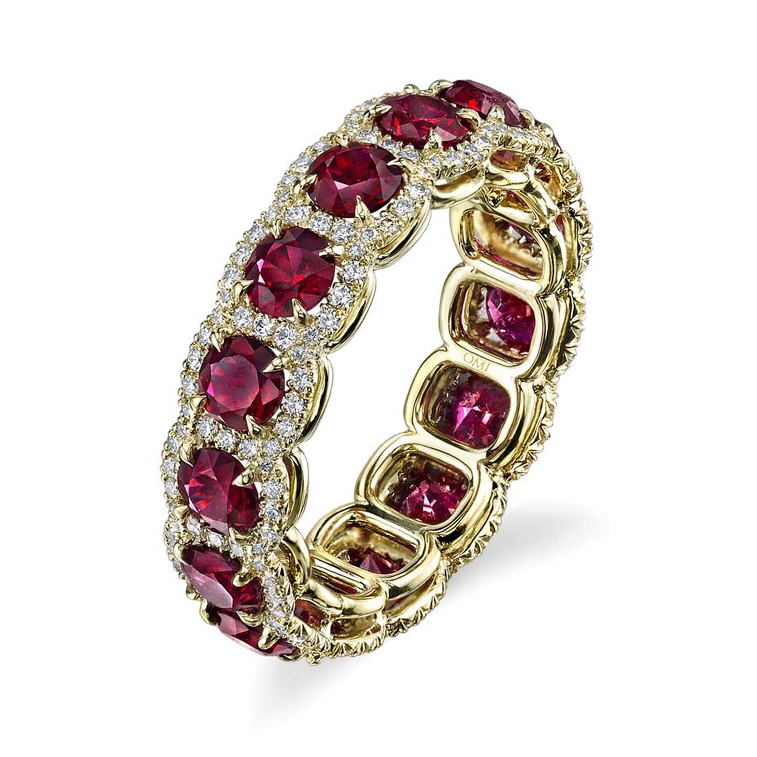 Omi Privé ruby and diamond eternity wedding band