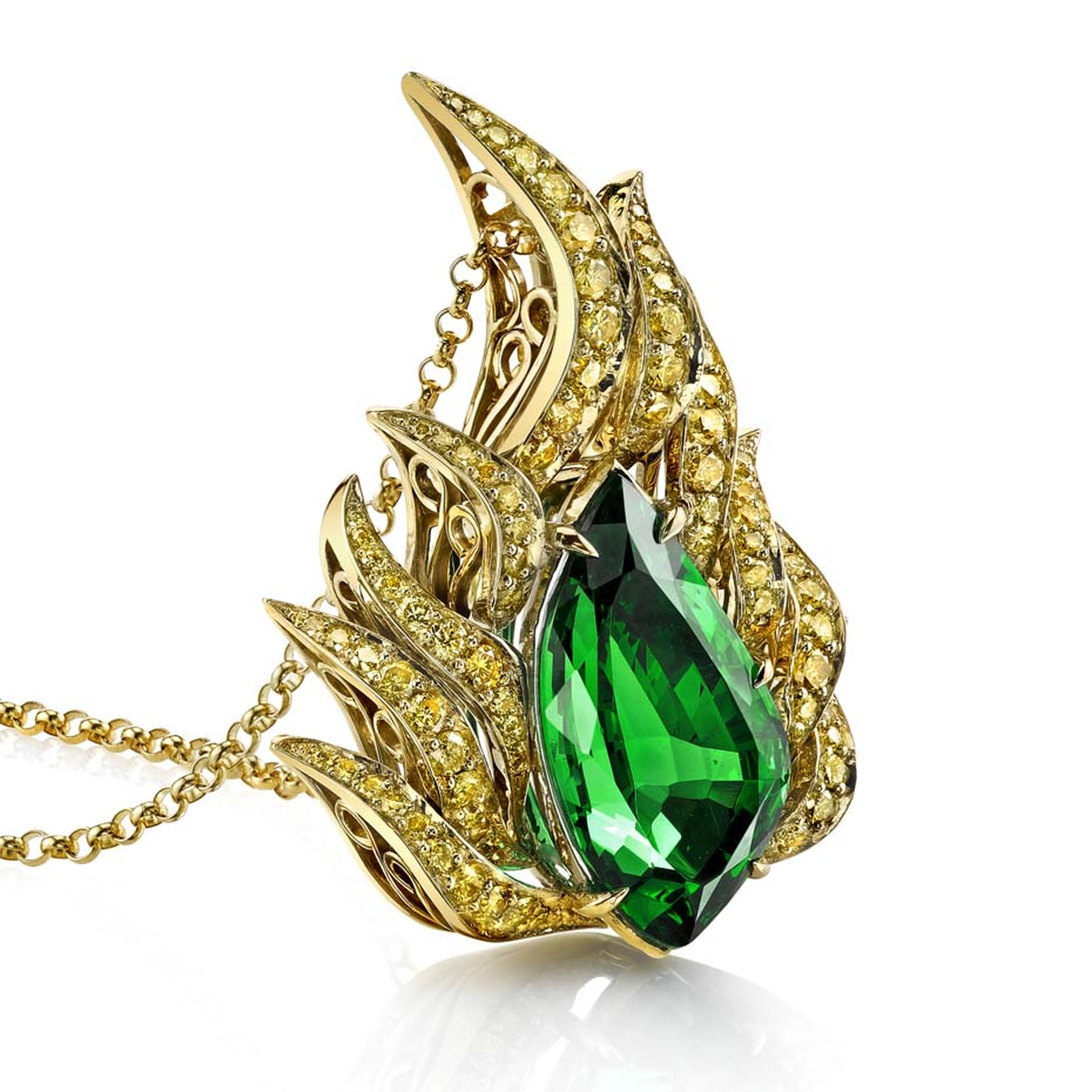 Omi Privé tsavorite and yellow diamond pendant