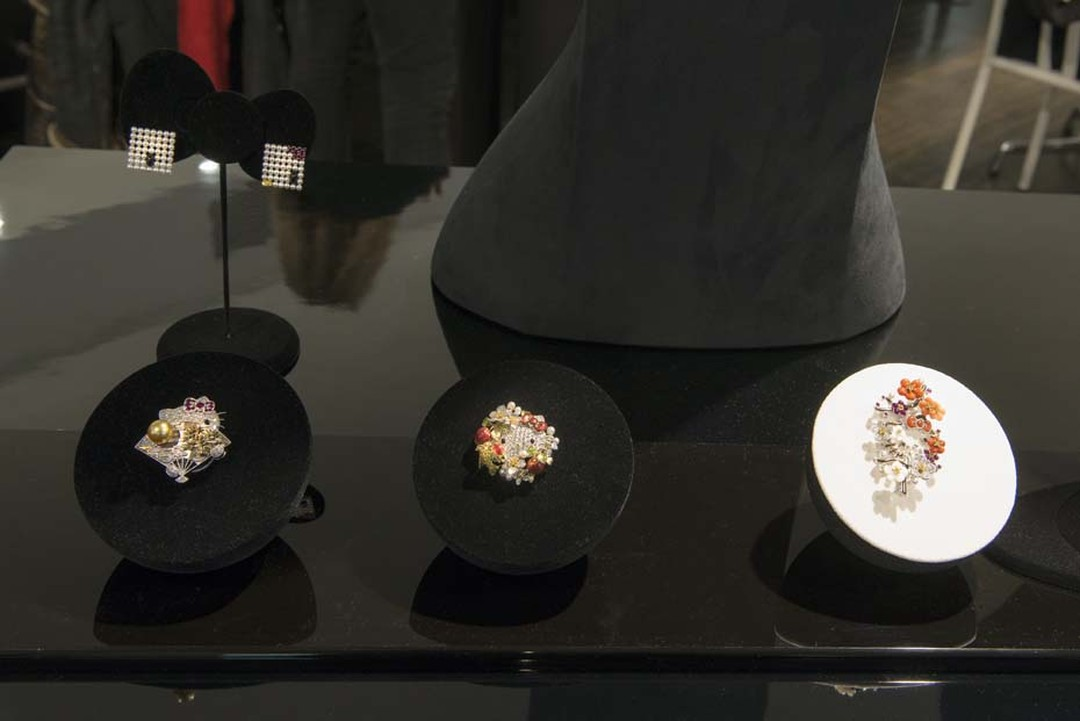 Brooches from the Mikimoto x Hello Kitty collection on display at Colette in Paris for the launch