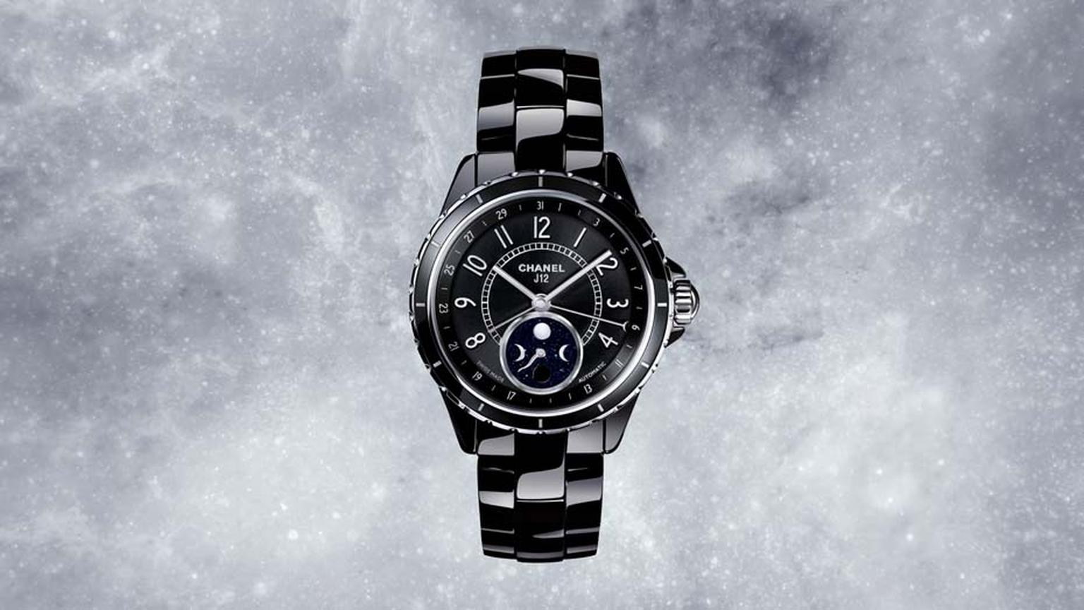 Chanel's iconic J12 ceramic watch features a blue aventurine Moon phase counter
