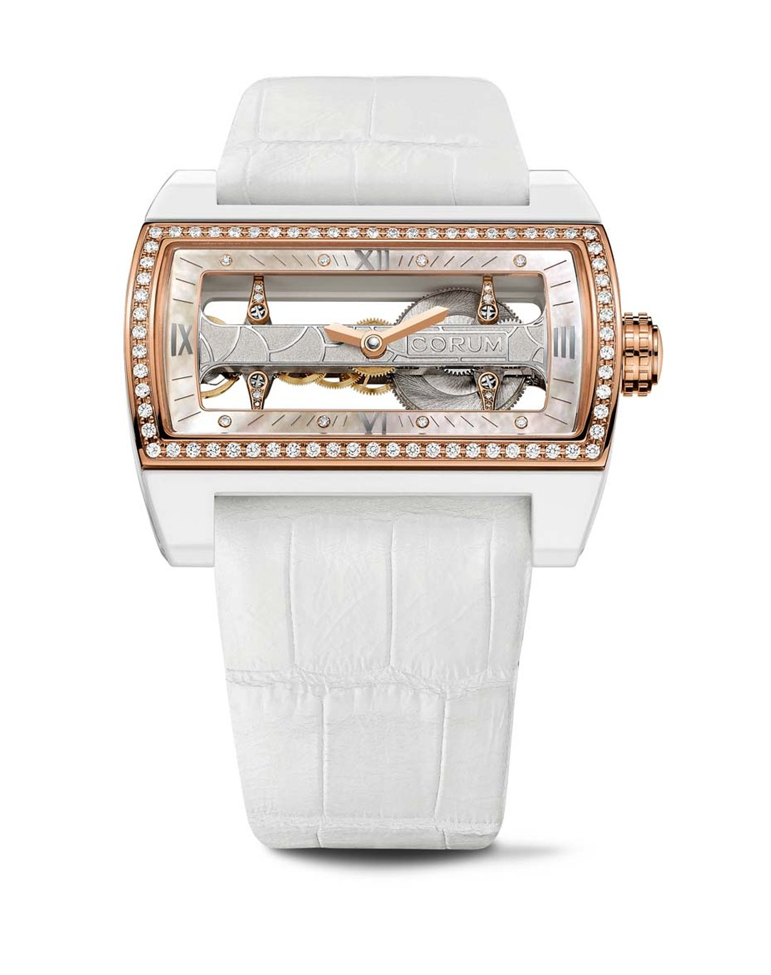 Corum's Ti-Bridge Lady watch is held in place by four diamond-set cross-bars with a horizontal baguette movement framed by a white ceramic case