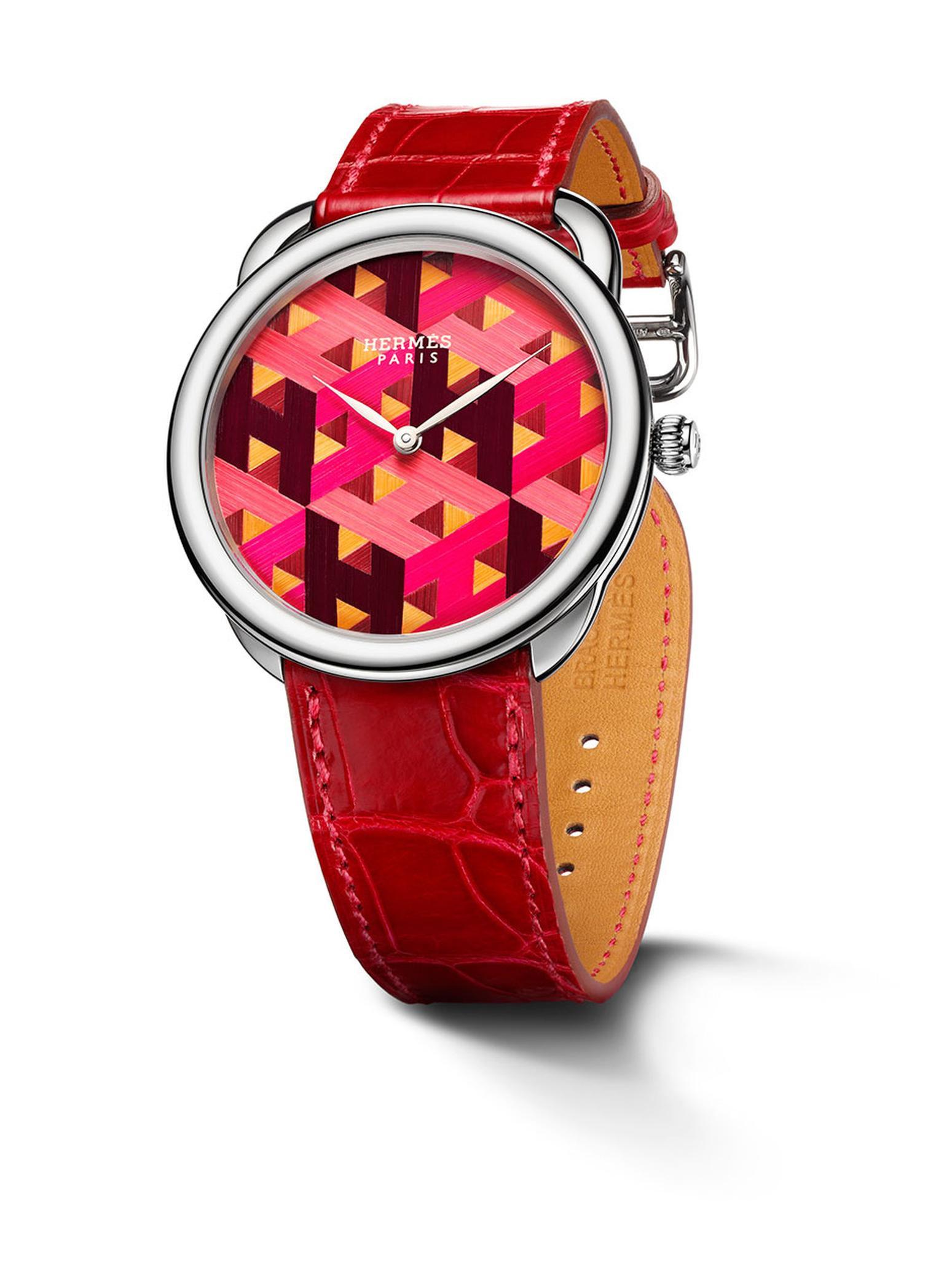 The Hermès Arceau H Cube is a limited edition of 10 and features a dial made entirely of straw marquetry