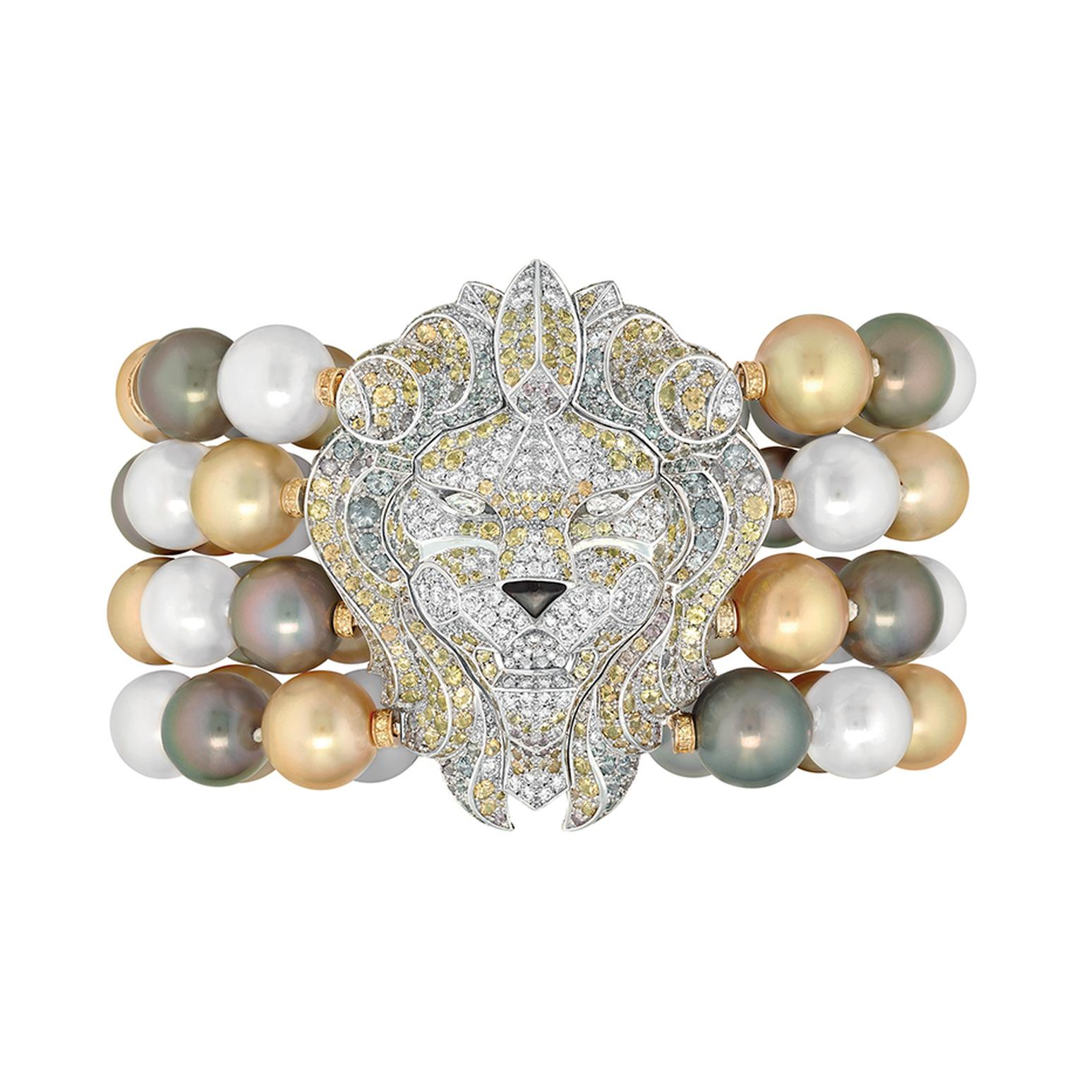 Chanel 'Lion Baroque' bracelet bracelet with 62 Tahitian and South Sea pearls, diamonds and sapphires in white and yellow gold, from the Les Perles de Chanel high jewellery collection