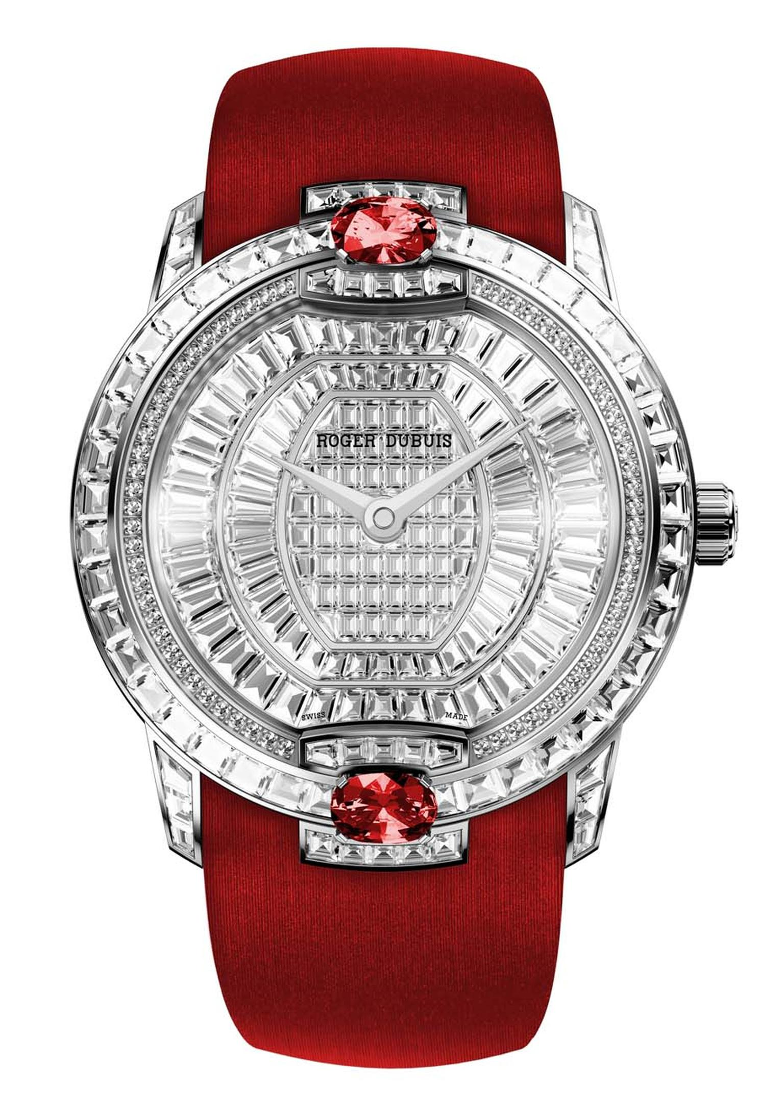 Roger Dubuis' Velvet watch features two striking rubies and 304 diamonds in one of three different diamond settings