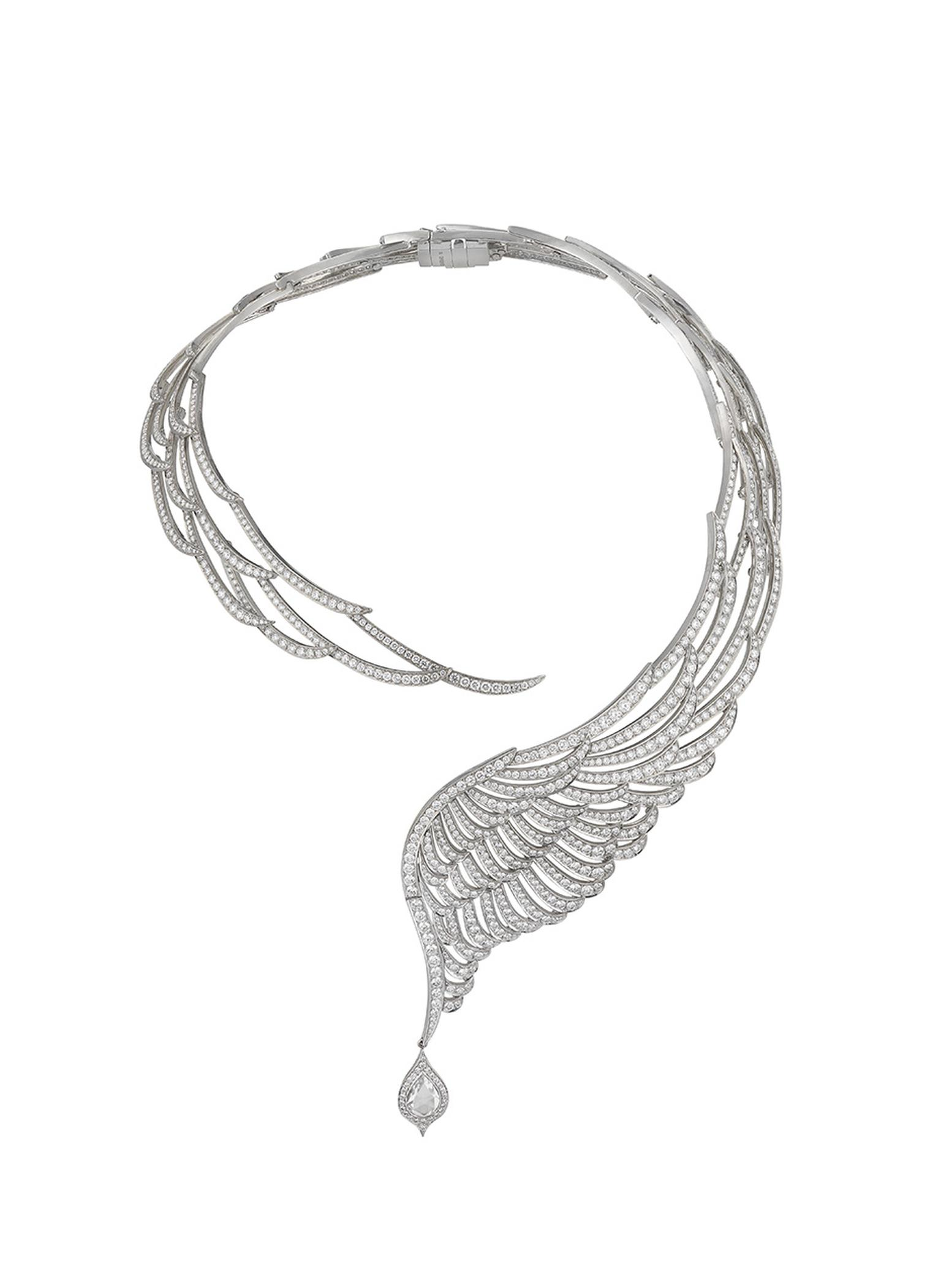 Garrard necklace with 40ct of diamonds, set in white gold, from the 10th Anniversary Wings High Jewellery collection