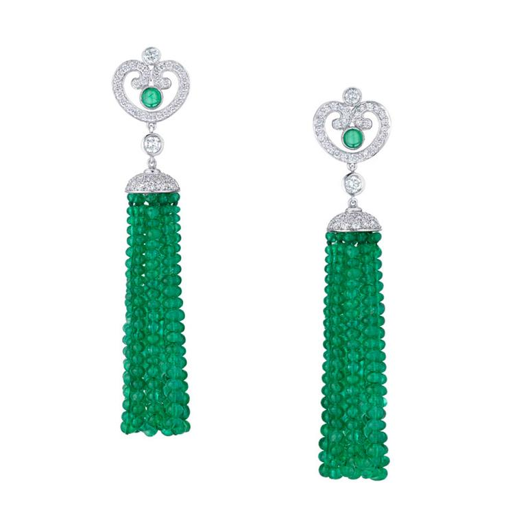 Fabergé Les Danses Fantasques Aurora diamond and emerald tassel earrings