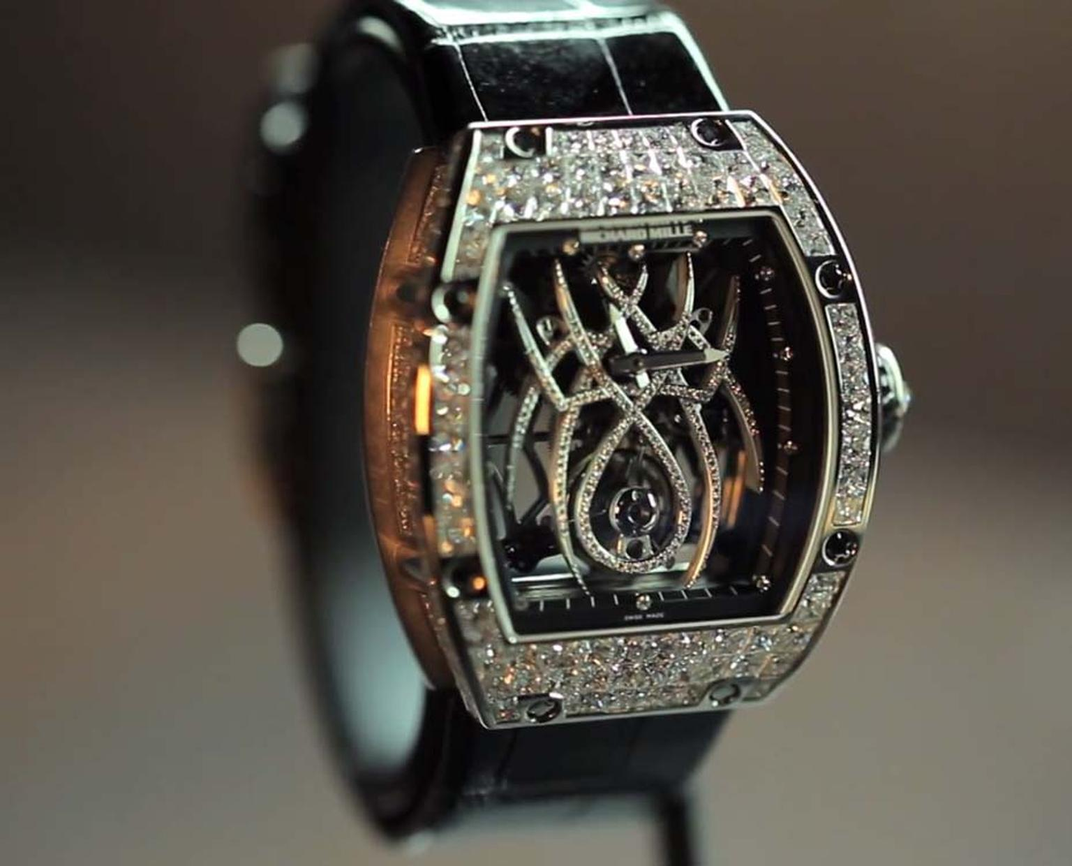 The Richard Mille Tourbillon Natalie Portman RM 19-01 featuring a diamond-set spider on the dial