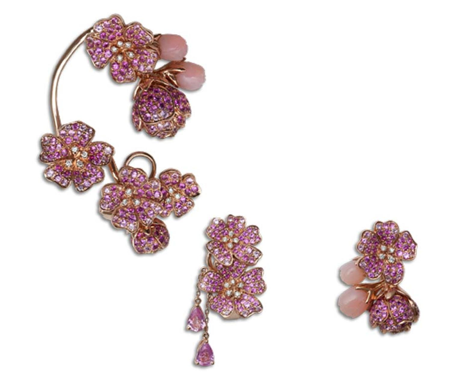 Morphée's Cherry Tree Blossom earrings are set with sapphires, diamonds and pink opals