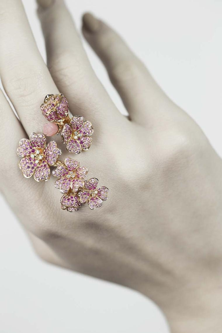 Morphée Cherry Tree Blossom ring in pink gold with sapphires, diamonds and pink opals