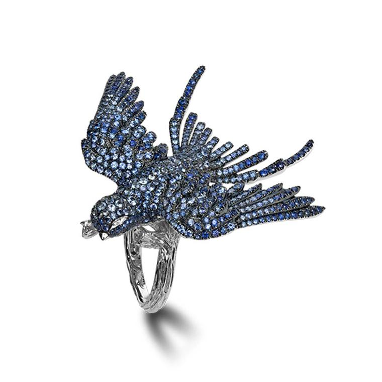 Morphée The Flight ring in gold pavé set with sapphires and diamonds