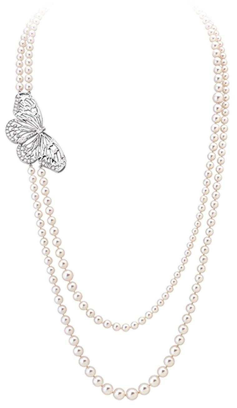 Morphée Flutterby Butterfly necklace in white gold with diamonds and Akoya pearls