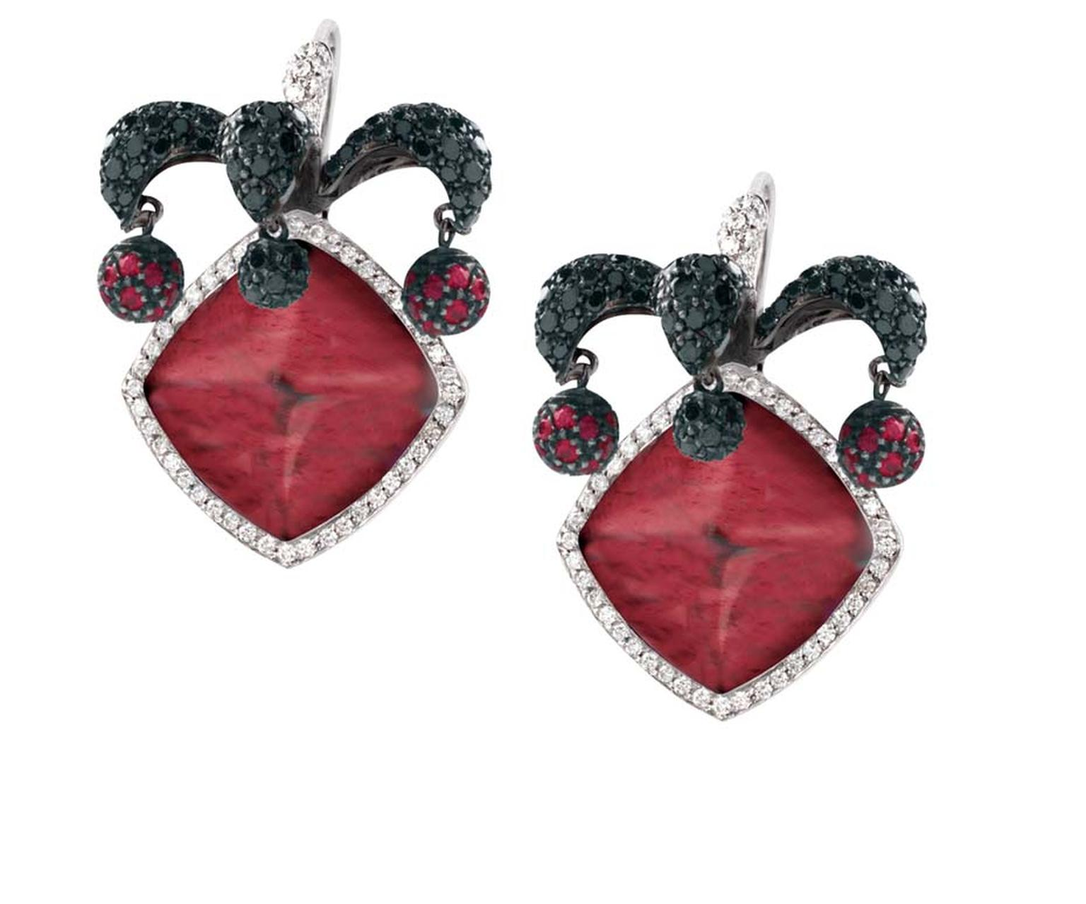 Avakian Joker earrings set with rubellites and black and white diamonds