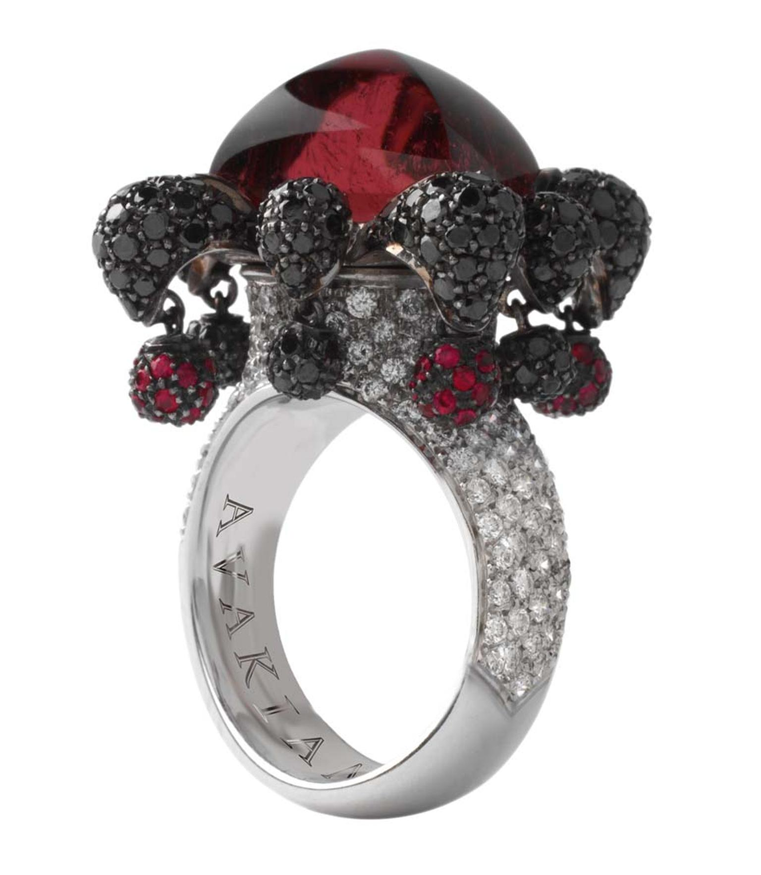 Avakian Joker ring set with rubellites and black and white diamonds