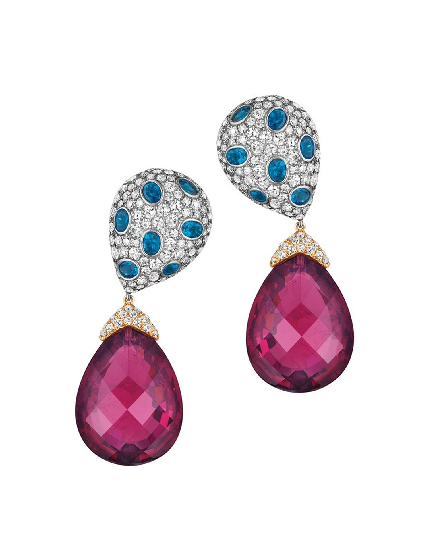 Jacob & Co. Harlequin earrings in white gold set with 83.81ct rubellites, apatite and diamonds