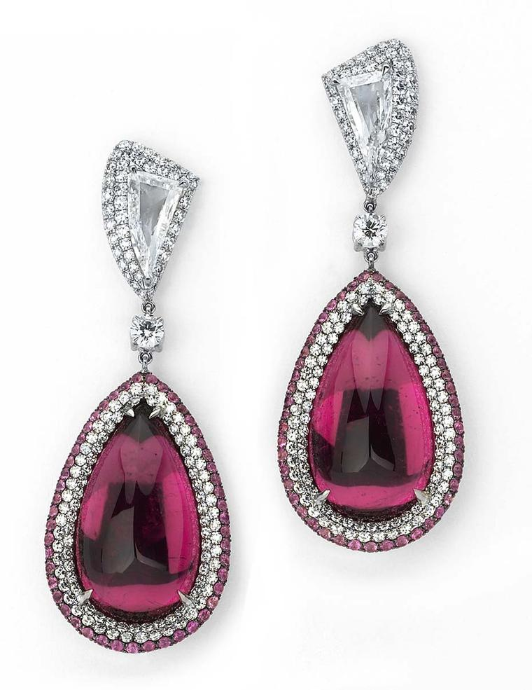 Martin Katz cabochon rubellite and diamond earrings