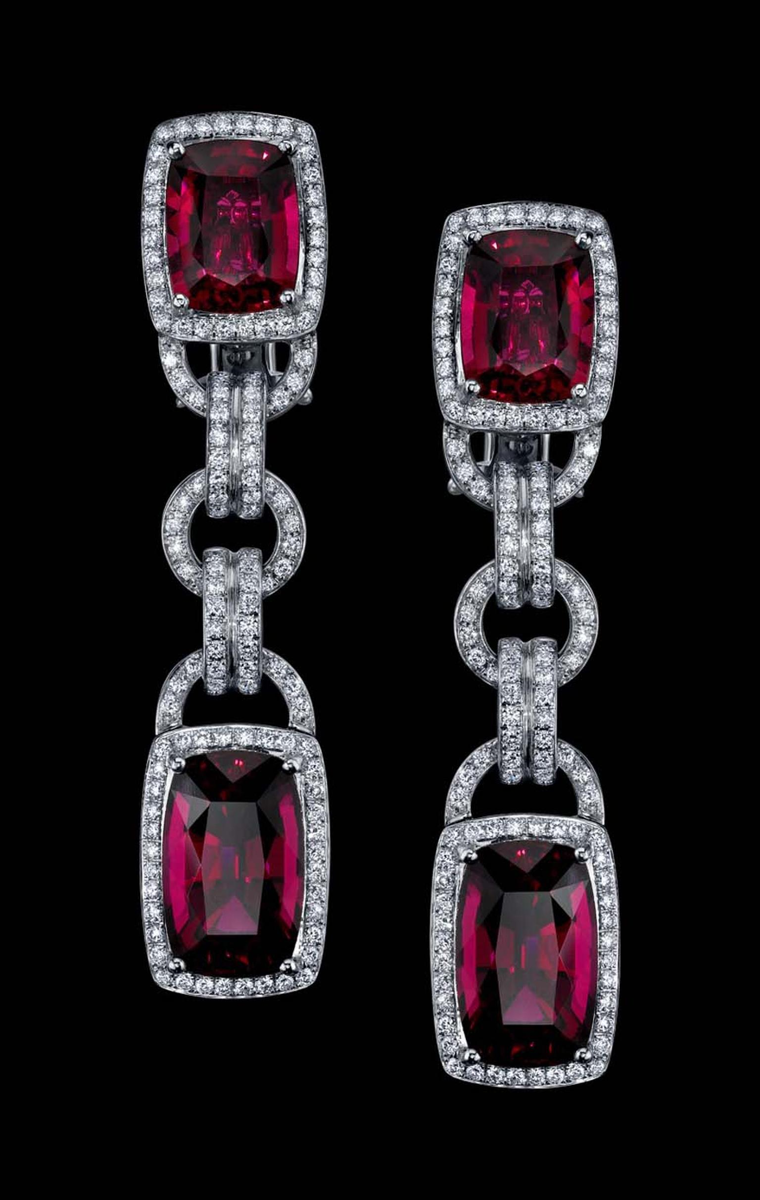 Robert Procop Parisian deco rubellite and diamond earrings