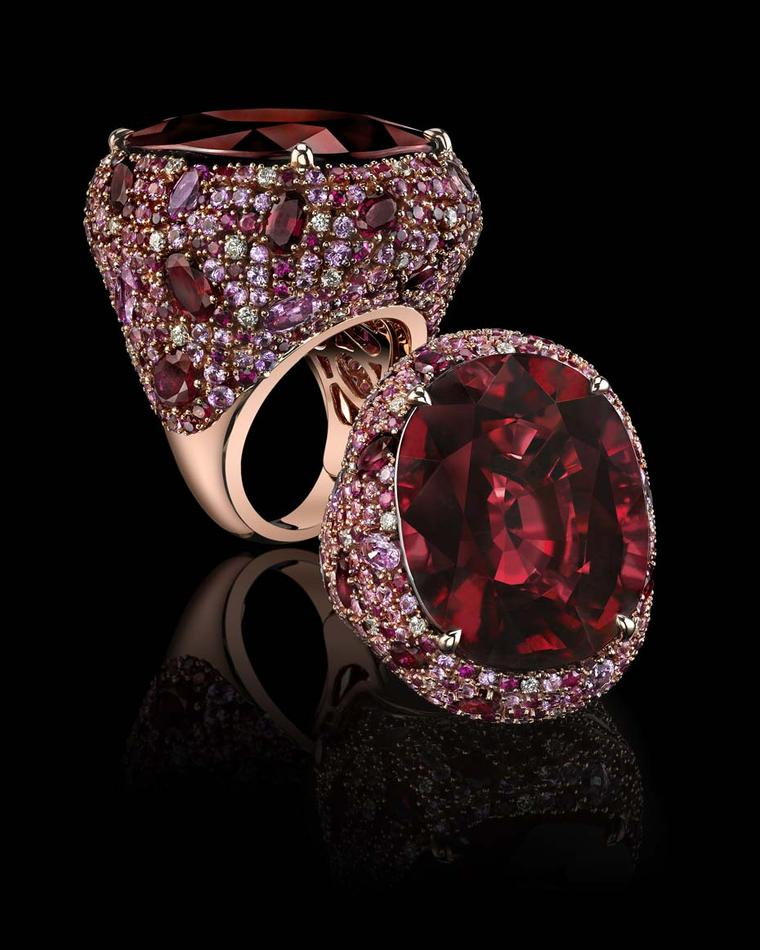 Robert Procop oval-shaped rubellite cocktail ring, with a central 31.74ct rubellite, pavé set with rubies, pink sapphires and diamonds