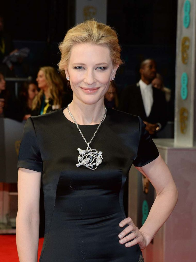Leading Actress BAFTA award winner Cate Blanchett in Chopard's diamond bird pendant from the Animal World collection