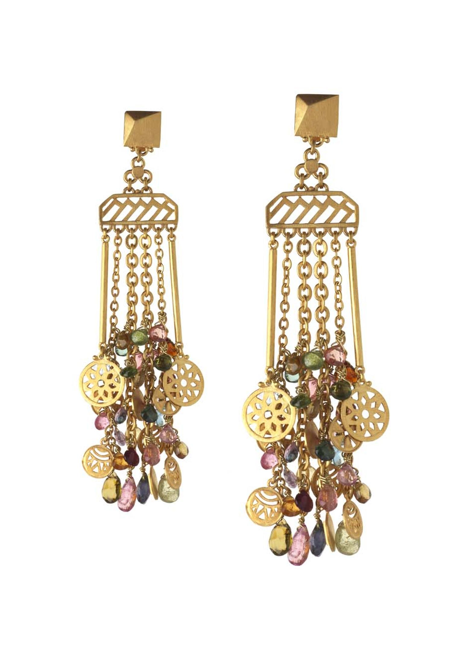 Azza Fahmy for Matthew Williamson Fringe Coin earrings from the Spring/Summer 2014 collection