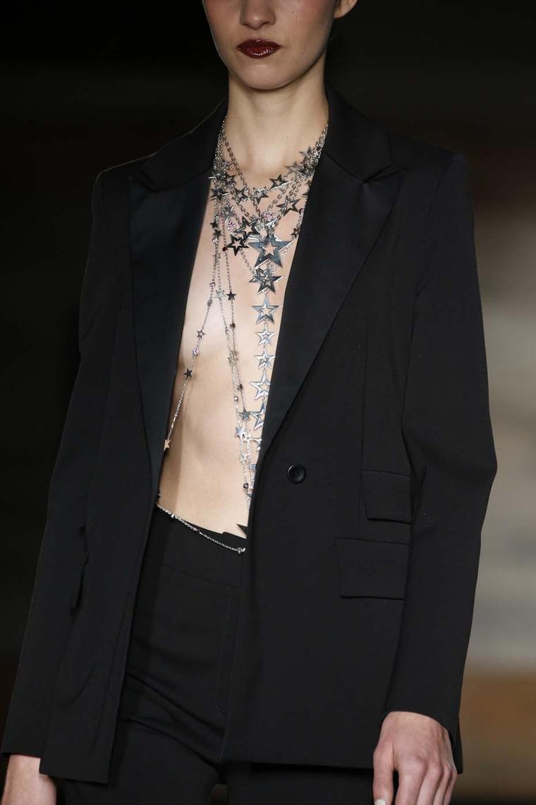 Azza Fahmy for Matthew Williamson silver Star necklaces on the fall/winter 2014 catwalk