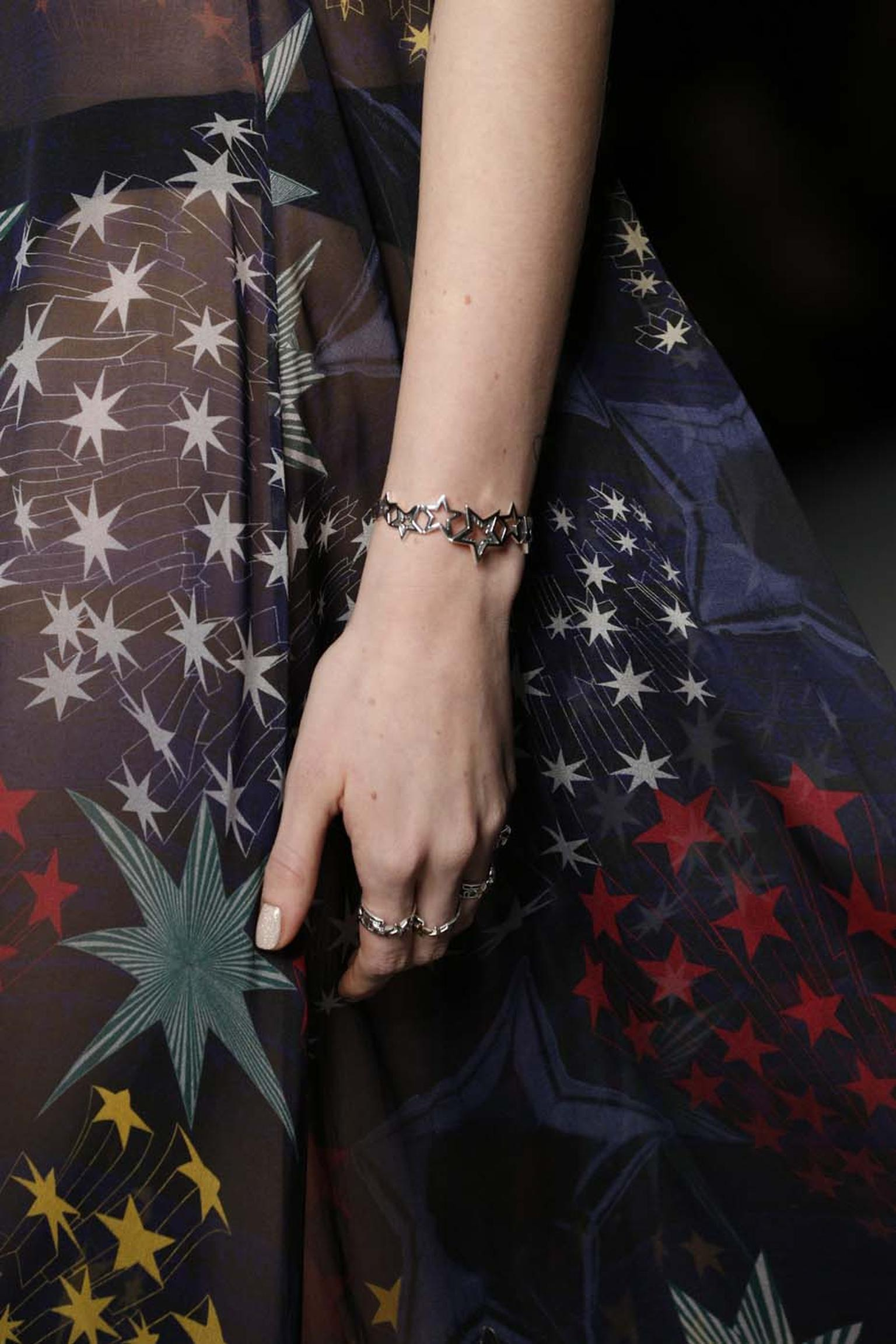 Azza Fahmy for Matthew Williamson silver Star bracelet and rings for FW14