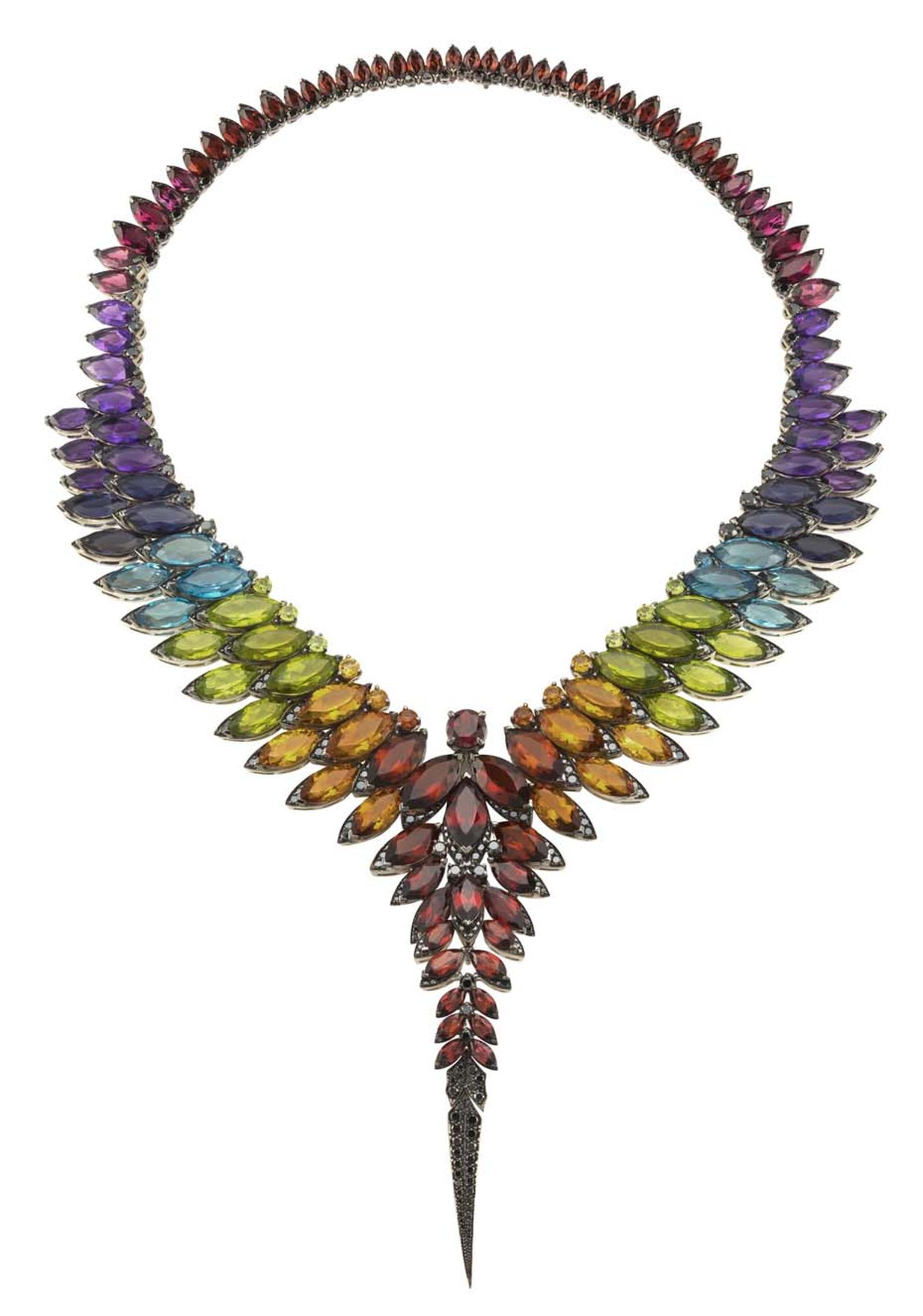 Stephen Webster Magnipheasant necklace with amethyst, pink tourmaline, red garnet, blue topaz, peridot and citrine