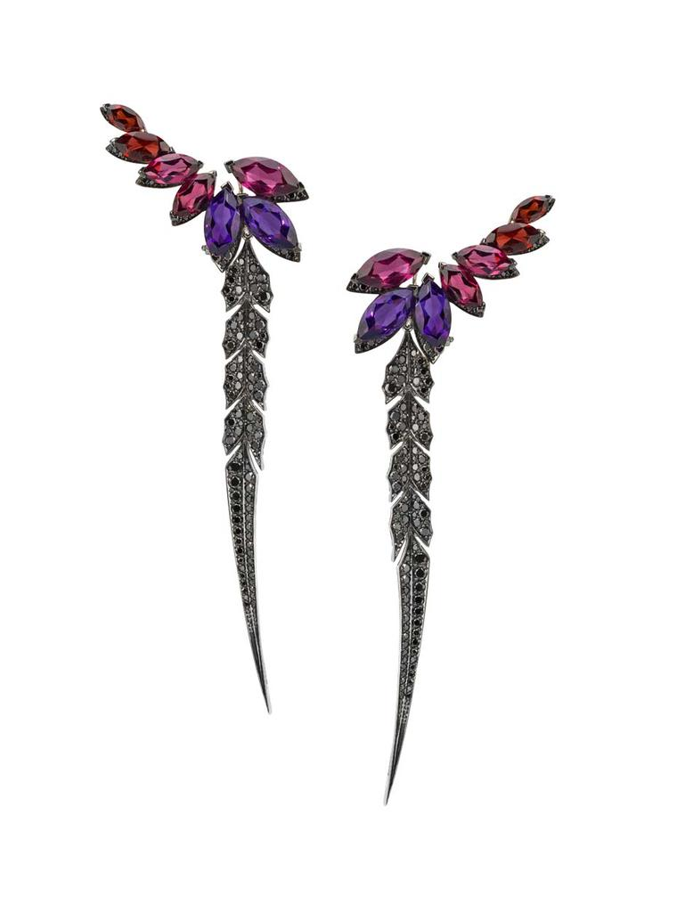 Stephen Webster Magnipheasant earrings with amethyst, pink tourmaline and peridot, surrounded by a border of pavé black diamonds