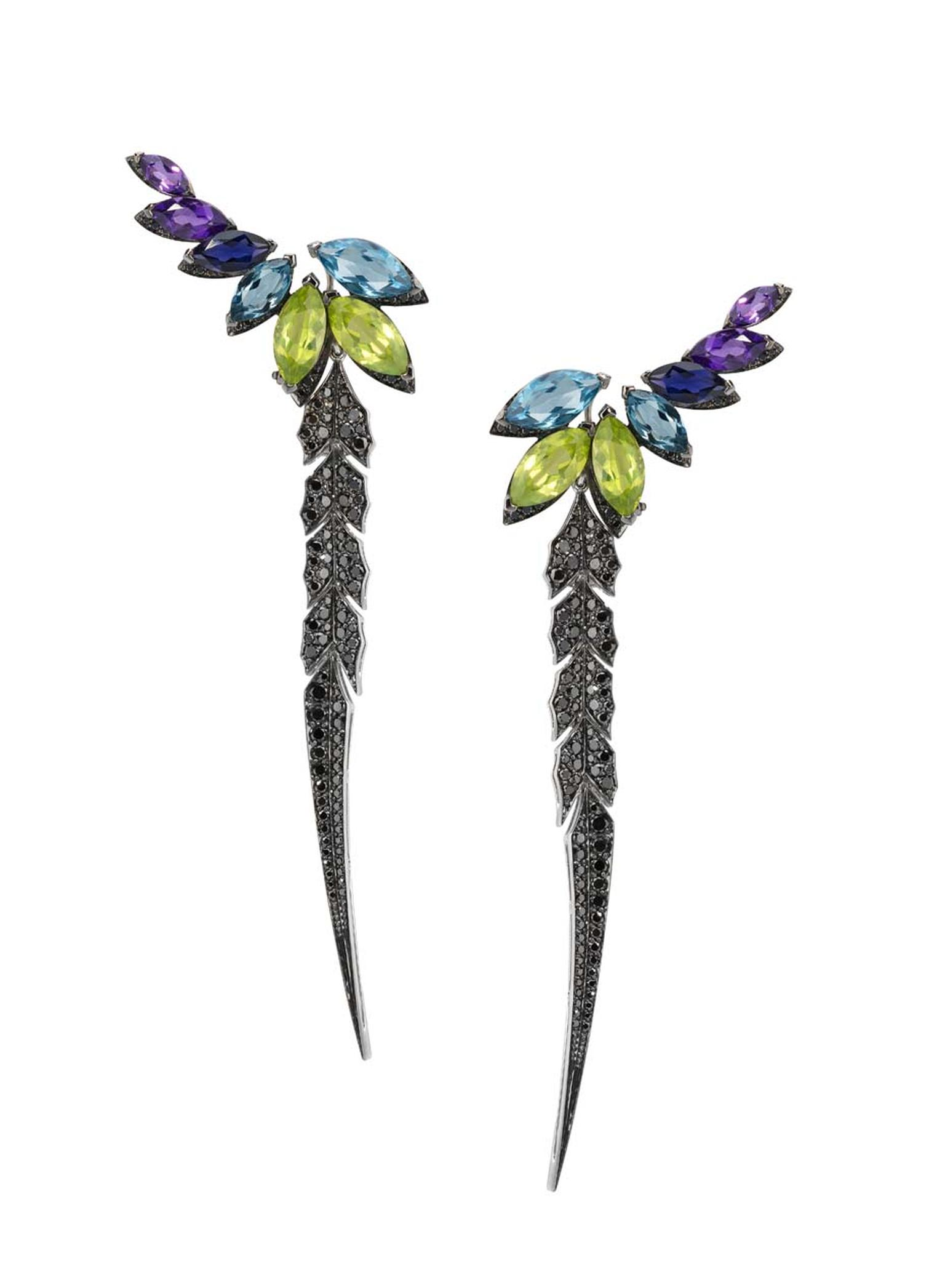Stephen Webster Magnipheasant earrings with topaz, amethyst and peridot, surrounded by a border of pavé black diamonds