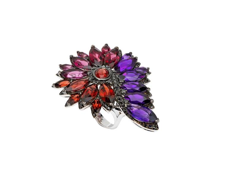 Stephen Webster Albion Rose Magnipheasant ring with amethyst, garnet, pink tourmalines and pavé black diamonds