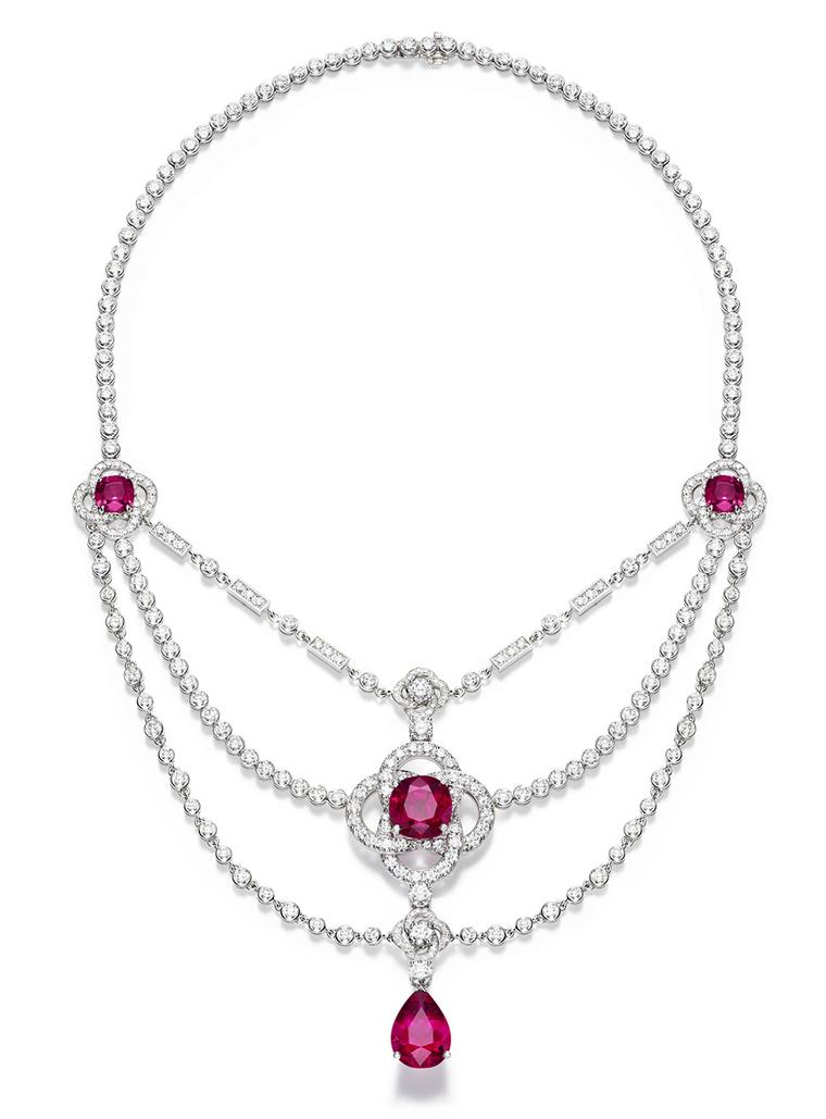 Piaget Limelight Couture Précieuse Necklace in white gold with a 12ct pear-shaped rubellite, three cushion-cut rubellites totalling 26ct and brilliant-cut diamonds