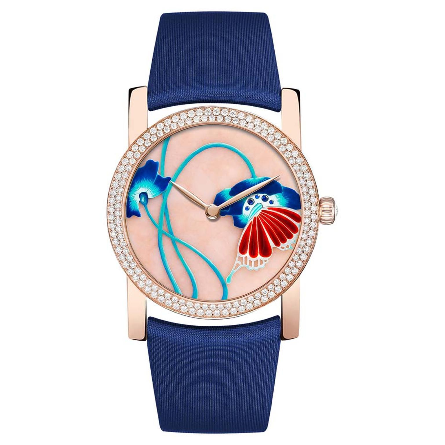 Chaumet Attrape-moi…si tu m'aimes collection watch with a polished pink opal base featuring enamel poppy flowers