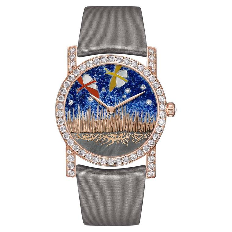 Chaumet Attrape-moi…si tu m'aimes collection watch dial displays two dragonflies decorated with white mother of pearl