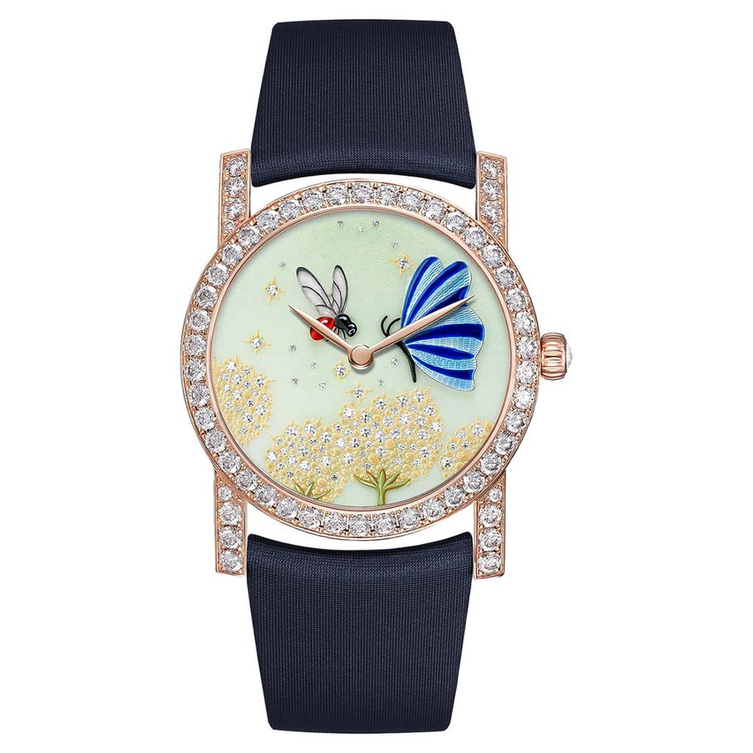 Chaumet Attrape-moi…si tu m'aimes collection watch featuring a bee and a butterfly