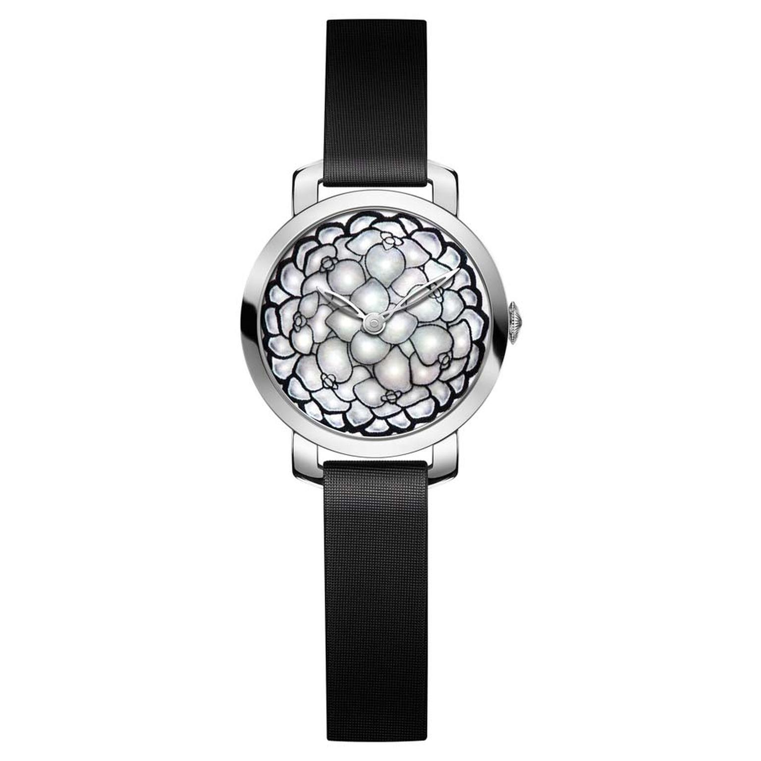 Chaumet Hortensia collection watch featuring a rhodium-plated white gold case