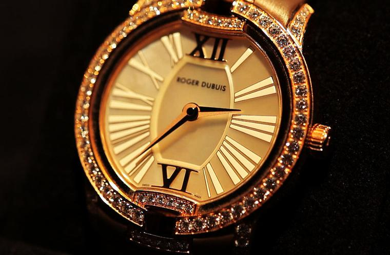 Roger Dubuis Velvet watch with diamonds and pink sapphires.