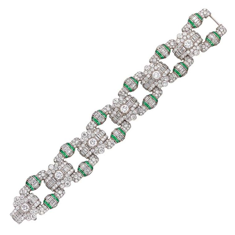 An Art Deco emerald diamond panel bracelet from Bentley & Skinner on 1stdibs