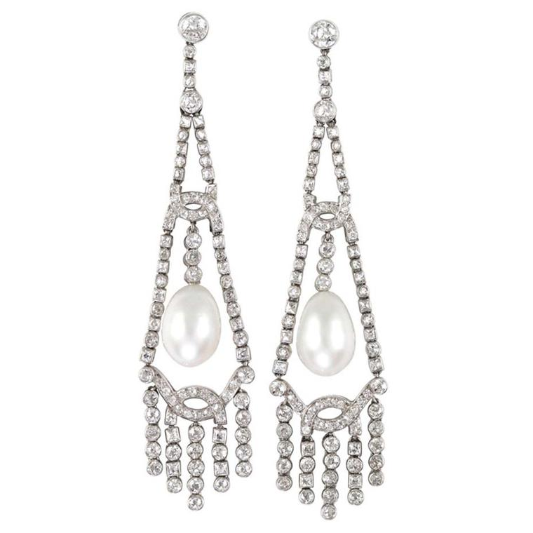 Art Deco Oriental natural pearl diamond chandelier earrings from Bentley & Skinner on 1stdibs