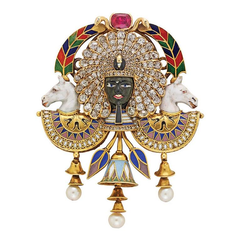 Egyptian Revival Pharaoh portrait brooch by Carlo Giuliano from Bentley & Skinner on 1stdibs