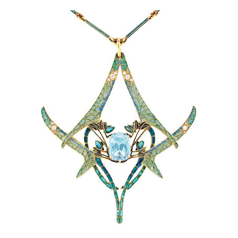 Rene Lalique aquamarine dragonfly pendant from Bentley & Skinner, available at 1stdibs