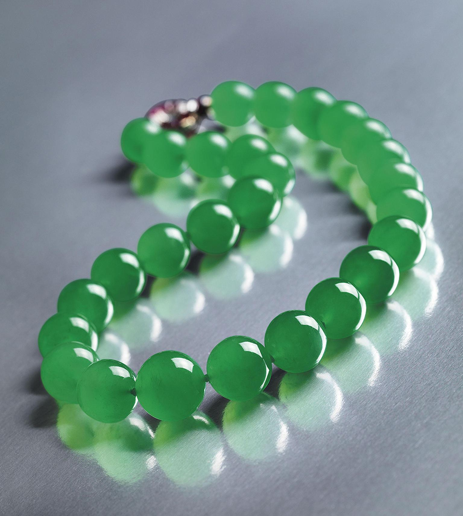 Made up of 27 Qing jadeite beads, The Hutton-Mdivani necklace was formerly the property of socialite and heiress Barbara Hutton